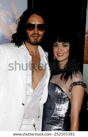 """HOLLYWOOD, CALIFORNIA - Tuesday May 25, 2010. Russell Brand and Katy Perry at the World premiere of """"Get Him To The Greek"""" held at the Greek Theater, Hollywood.  - stock photo"""