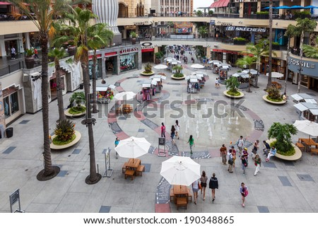 HOLLYWOOD, CALIFORNIA/USA - JULY 29 : Hollywood and Highland Center shopping mall in Hollywood on July 29, 2011. Unidentified people. - stock photo