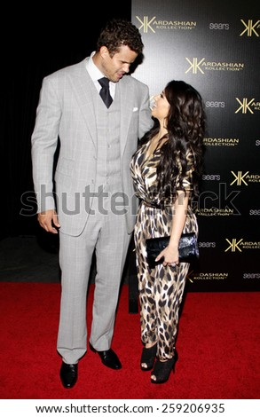 HOLLYWOOD, CALIFORNIA - Wednesday August 17, 2011. Kris Humphries and Kim Kardashian at the Kardashian Kollection Launch Party held at the Colony, Los Angeles.  - stock photo