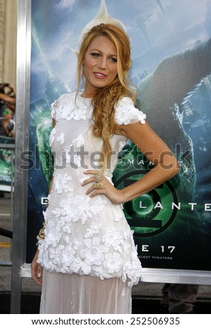 """HOLLYWOOD, CALIFORNIA - Wednesday June 15, 2011. Blake Lively at the Los Angeles premiere of """"Green Lantern"""" held at the Grauman's Chinese Theatre, Los Angeles. - stock photo"""