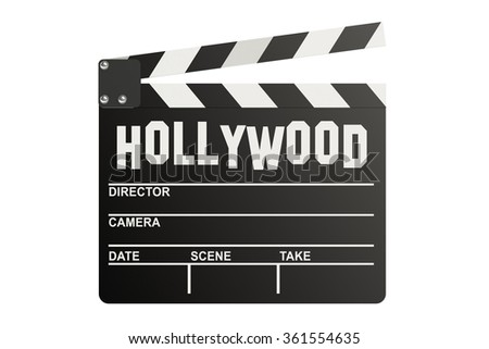 Hollywood Clapper board isolated on white background - stock photo