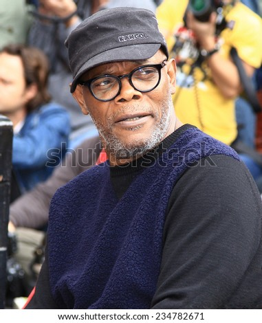 HOLLYWOOD - DECEMBER 1, 2014: Actor Samuel L. Jackson attends Walk of Fame ceremony where Christoph Waltz receives a star December 1, 2014 Hollywood, CA. - stock photo