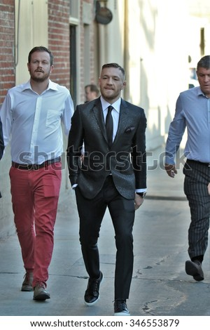 HOLLYWOOD - DECEMBER 2, 2015: Mixed martial arts fighter Conor McGregor is in Hollywood for an appearance on Jimmy Kimmel Live! December 2, 2015. - stock photo