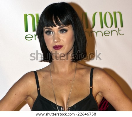 HOLLYWOOD - DECEMBER 31: Musician KATY PERRY attends the Gridlock 2008/2009 New Years Eve party at Paramount Studios in Hollywood, California, December 31, 2008 - stock photo