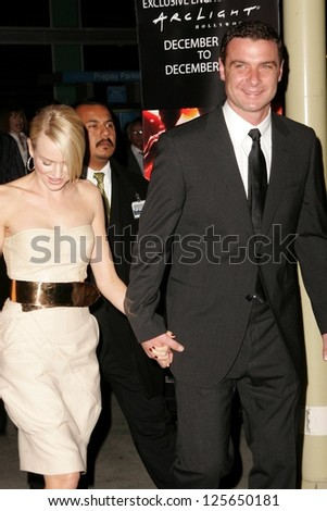 "HOLLYWOOD - DECEMBER 13: Naomi Watts and Liev Schreiber at the Los Angeles Premiere of ""The Painted Veil"" on December 13, 2006 at Arclight Cinemas in Hollywood, CA."