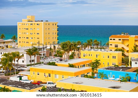 Hollywood Florida, USA. Beautiful colorful panorama of beach buildings and hotels - stock photo