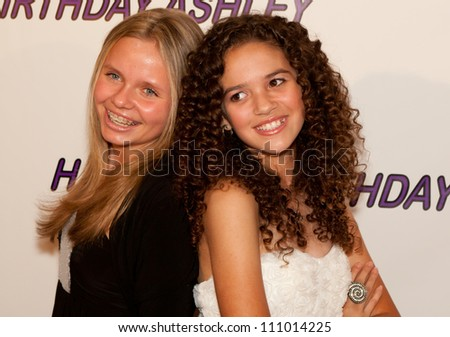 HOLLYWOOD - JAN 29: Alli Simpson (L) and Madison Pettis (R) attends Ashley Argota 18th Birthday at the W Hotel Hollywood, January 29, 2011, in Hollywood, CA - stock photo