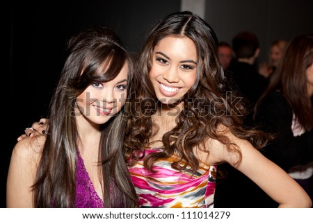 HOLLYWOOD - JAN 29: Anna Maria Perez De Tagle (L) & Ashley Argota (R) attends Ashley Argota 18th Birthday at the W Hotel Hollywood, January 29, 2011, in Hollywood, CA - stock photo