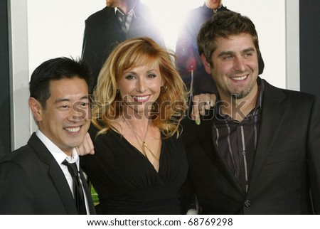 "HOLLYWOOD - JAN. 10:   Grant Imahara, Kari Byron & Tory Belleci arrive at the ""The Green Hornet"" premiere at Grauman's Chinese Theatre on Jan. 10, 2011 in Hollywood, CA."