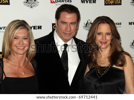 HOLLYWOOD - JAN 22: Olivia Newton John, John Travolta & Kelly Preston arrive at the 2011 G'Day USA Los Angeles Gala on January 22, 2011 in Hollywood, CA - stock photo