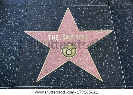 HOLLYWOOD - JANUARY 23: The Simpsons' star on Hollywood Walk of Fame, as seen on January 23, 2014 in Hollywood in California. This star is located on Hollywood Blvd. and one of 2400 celebrity stars. - stock photo