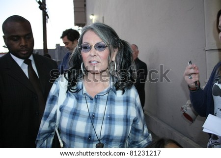 HOLLYWOOD - JULY 18: Comedian Roseanne talking to fans after appearance on the Jimmy Kimmel show outside the Jimmy Kimmel studio July 18, 2011 Hollywood, CA. - stock photo