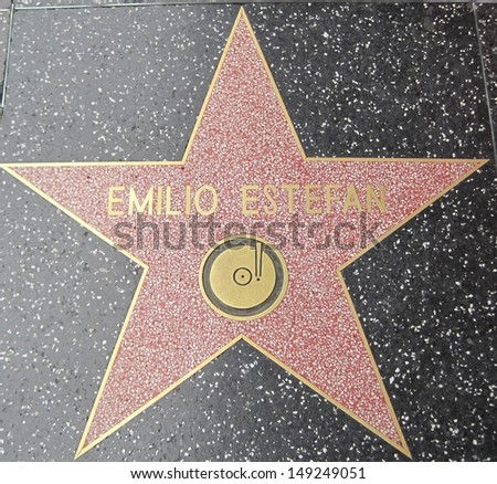 HOLLYWOOD - JULY 11: Emilio Estefan's star on Hollywood Walk of Fame, as seen on July 11, 2013 in Hollywood in California. This star is located on Hollywood Blvd. and is one of 2400 celebrity stars.