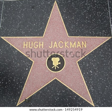 HOLLYWOOD - JULY 11: Hugh Jackman's star on Hollywood Walk of Fame, as seen on July 11, 2013 in Hollywood in California. This star is located on Hollywood Blvd. and is one of 2400 celebrity stars. - stock photo