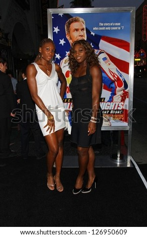 "HOLLYWOOD - JULY 26: Venus Williams and Serena Williams at the Premiere Of ""Talladega Nights: The Ballad Of Ricky Bobby"" at Graumans Chinese Theatre July 26, 2006 in Hollywood."
