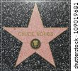 HOLLYWOOD - JUNE 26: Chuck Norris  star on Hollywood Walk of Fame on June 26, 2012 in Hollywood, California. This star is located on Hollywood Blvd. and is one of 2400 celebrity stars. - stock photo