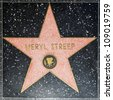 HOLLYWOOD - JUNE 26: Meryl Streeps star on Hollywood Walk of Fame on June 26, 2012 in Hollywood, California. This star is located on Hollywood Blvd. and is one of 2400 celebrity stars. - stock photo