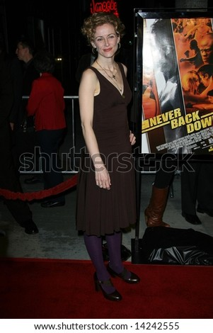 HOLLYWOOD - MARCH 04: Leslie Hope at the Los Angeles premiere of 'Never Back Down,' held at the Arclight Cinerama Dome in Hollywood, California.