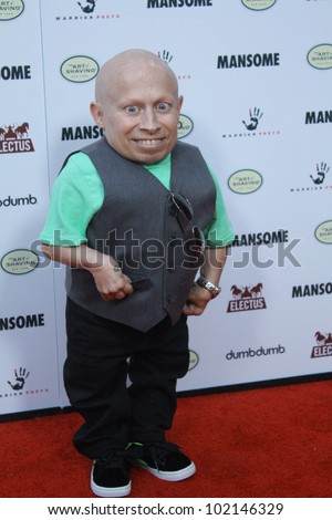 "HOLLYWOOD - MAY 9, 2012: Actor Vern Troyer walks the red carpet for the premiere of the movie ""Mansome"" held at the Arclight Theatre May 9, 2012 Hollywood, CA. - stock photo"