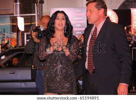 HOLLYWOOD - NOVEMBER 15:    Singer/actor Cher at her premiere of the movie Burlesque at Grauman's Chinese Theatre November 15, 2010 Hollywood, CA. - stock photo
