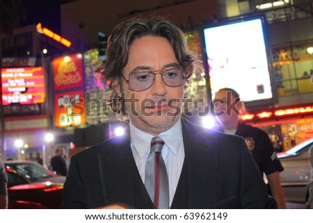HOLLYWOOD - OCTOBER 28: Actor Robert Downey, Jr at the premiere of his latest movie Due Date at Grauman's Chinese Theatre October 28, 2010 in Hollywood, CA. - stock photo