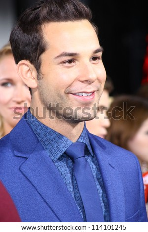 "HOLLYWOOD - SEPTEMBER 24: Actor Skylar Astin is on the red carpet for ""Pitch Perfect"" premiere at the CineramaDome September 24, 2012 Hollywood, CA. - stock photo"