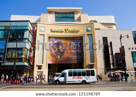 HOLLYWOOD - SEPTEMBER 4: Kodak Theatre on September 4, 2011. Since its opening on November 9, 2001, the theater has hosted the Academy Awards ceremonies (Oscars), initially held here in March 2002. - stock photo