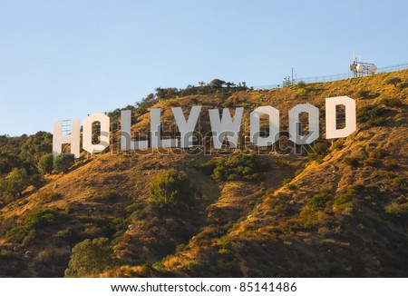 HOLLYWOOD - SEPTEMBER 6: The world famous landmark Hollywood Sign on September 6, 2011 in Hollywood, California. It was created as an advertisement in 1923. - stock photo