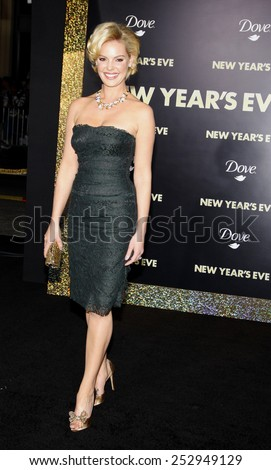 "HOLLYWOOD, USA - DECEMBER 5: Katherine Heigl at the Los Angeles Premiere of ""New Year's Eve"" held at the Grauman's Chinese Theatre in Los Angeles, USA on December 5, 2011. - stock photo"