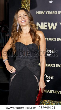 "HOLLYWOOD, USA - DECEMBER 5: Sofia Vergara at the Los Angeles Premiere of ""New Year's Eve"" held at the Grauman's Chinese Theatre in Los Angeles, USA on December 5, 2011. - stock photo"