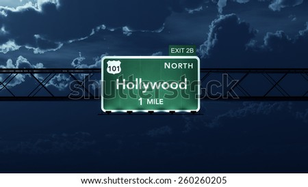 Hollywood USA Interstate Highway Road Sign - stock photo