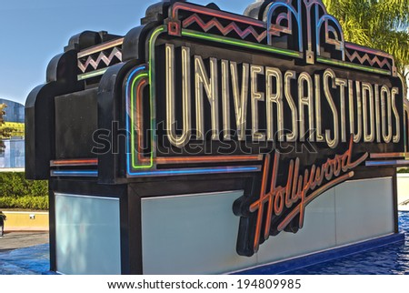 Hollywood- USA, October, 3: Universal Studios Sign seen at Universal Studios in Los Angeles in October, 3, 2013, United States Of America - stock photo