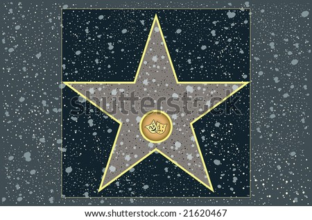 Hollywood walk of fame: live theater blank star - stock photo