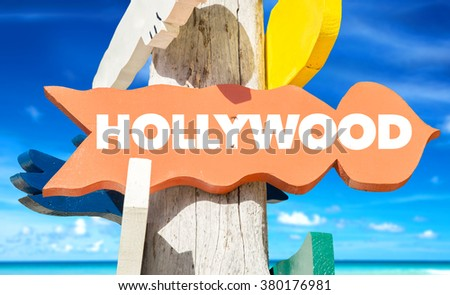 Hollywood welcome sign with beach - stock photo