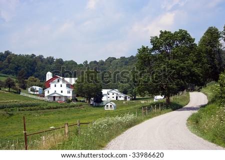 Holmes County Amish Farm - stock photo