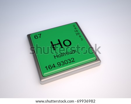 Holmium chemical element of the periodic table with symbol Ho - stock photo