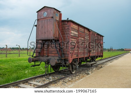 Holocaust Death Camp cattle car train from Nazi Germany concentration camp Auschwitz-Birkenau  - stock photo