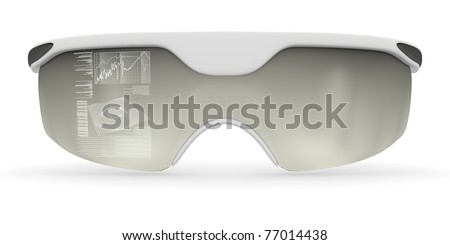 Holographic glasses of the future frontal view isolated on white background