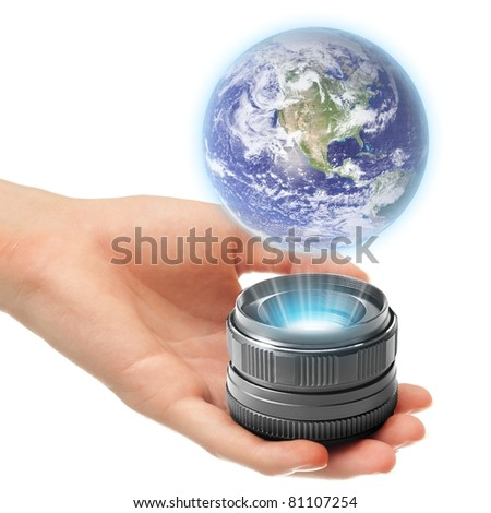 Holographic projection of Earth. Earth globe image provided by NASA. - stock photo