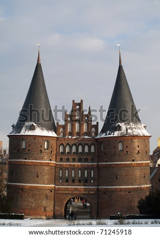 Holstentor in the old city of L�¼beck, Germany