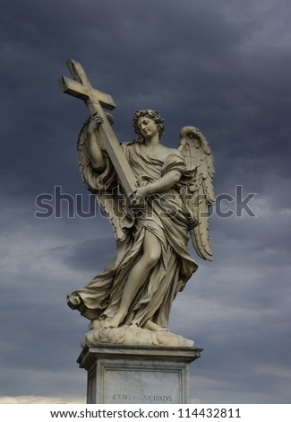 Holy angel with a cross, Rome - stock photo