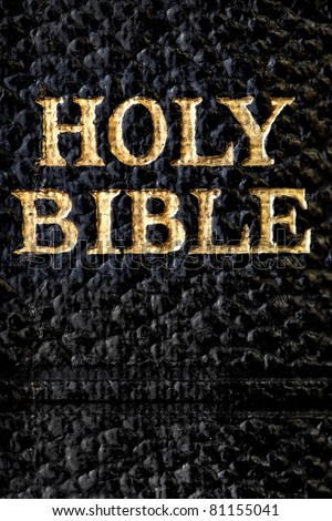Holy Bible.  Gold letters on antique Bible, in close-up. - stock photo