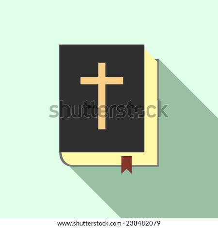 Holy bible icon design in flat style with long shadow - stock photo