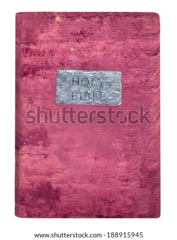 Holy Bible in a soft velvet cover isolated on white background - stock photo