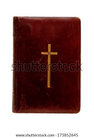 holy  Bible with cross on cover, isolated on white  - stock photo