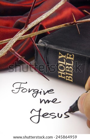 Holy Bible with Thorn Crown. Forgive me  - stock photo
