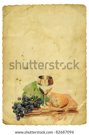 Holy communion elements on old paper background. Isolated on white - stock photo