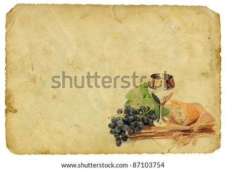 Holy communion elements on old paper background. Isolated on white. - stock photo