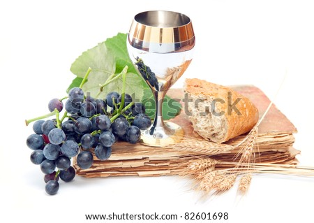 Holy communion elements on white background - stock photo