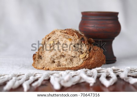 Holy communion. Shallow dof, copy space - stock photo